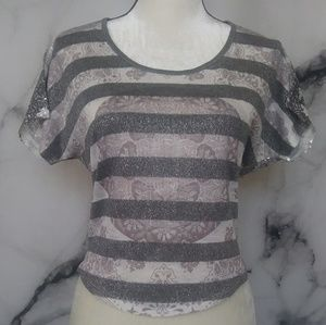 Charlotte Russe Silver Sequined SeeThru Back Top